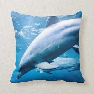 Dolphins Underwater Throw Pillow