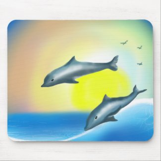 Dolphins Wave Mouse Pad