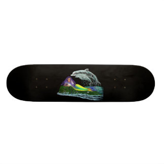 Dolphins with mermaid skateboard deck