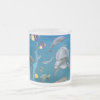 Dolpins art frosted glass coffee mug