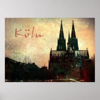 Dom de Kölner de la impresión de la lona de Leinwa Póster