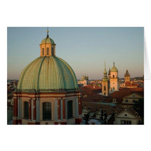 Dome of Church of Saint Francis, Prague, Czech Card