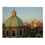 Dome of Church of Saint Francis, Prague, Czech Postcard