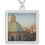 Dome of Church of Saint Francis, Prague, Czech Square Pendant Necklace