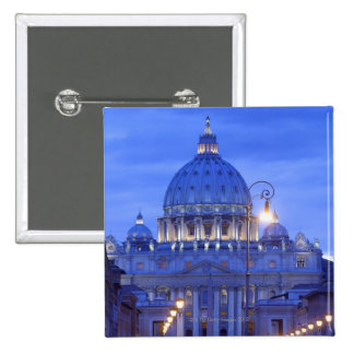 Dome of Saint Peter's Basilica at dusk 2 Inch Square Button