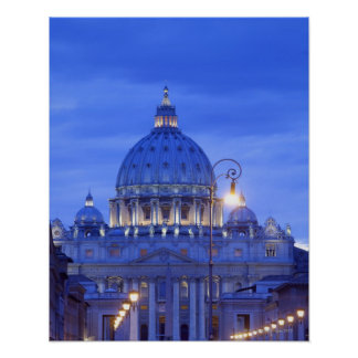 Dome of Saint Peter's Basilica at dusk Poster
