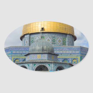 Dome of the Chain Temple Old City of Jerusalem Oval Sticker