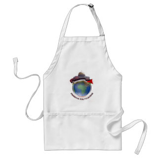 Dome of the rock, the world, Palestine flag Adult Apron
