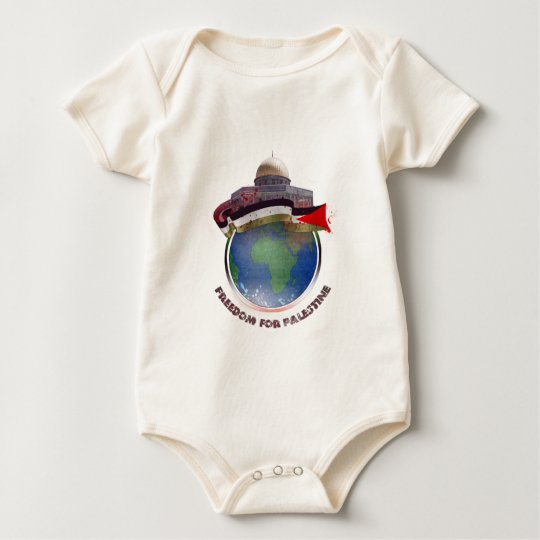 Dome of the rock, the world, Palestine flag Baby Bodysuit