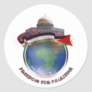 Dome of the rock, the world, Palestine flag Classic Round Sticker
