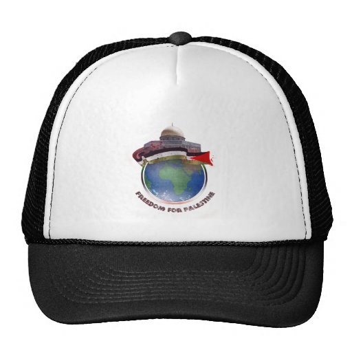 Dome of the rock, the world, Palestine flag Trucker Hat