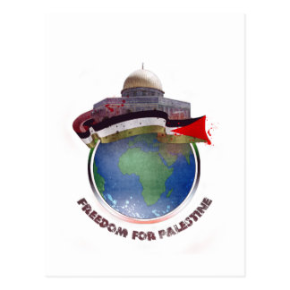 Dome of the rock, the world, Palestine flag Postcard