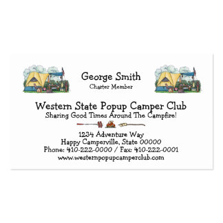 Tent camping business cards templates zazzle for Tent business cards