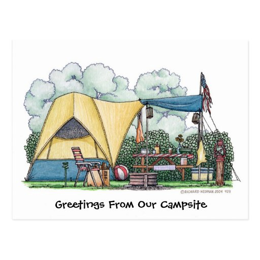 Dome Tent Camper Camping Post Cards