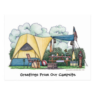 Dome Tent Camper Camping Post Cards Postcard