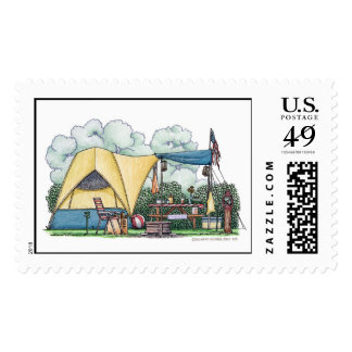 Dome Tent Camper Camping Stamps