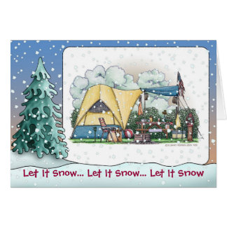 Dome Tent Camper Holiday Cards
