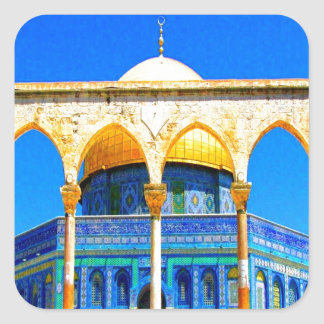 dome the rock 14 god and peace square sticker