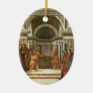 Domenico Ghirlandaio: Ángel que aparece a Adorno Ovalado De Cerámica