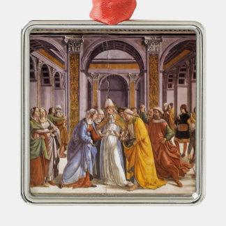 Domenico Ghirlandaio: Boda de Maria Adorno Cuadrado Plateado