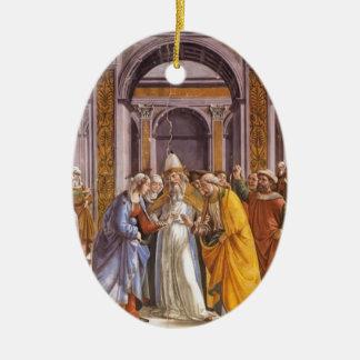 Domenico Ghirlandaio: Boda de Maria Adorno Ovalado De Cerámica