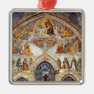 Domenico Ghirlandaio: Coronación de la Virgen Adorno Cuadrado Plateado