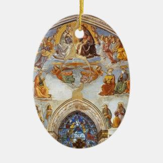 Domenico Ghirlandaio: Coronación de la Virgen Adorno Ovalado De Cerámica