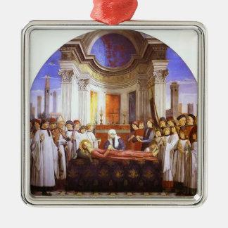 Domenico Ghirlandaio: El entierro de St. Fina Adorno Cuadrado Plateado
