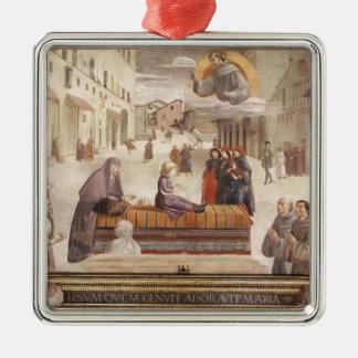 Domenico Ghirlandaio: El milagro de un niño Adorno Cuadrado Plateado
