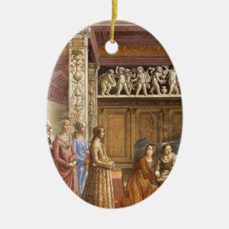 Domenico Ghirlandaio: El nacimiento de Maria Adorno Ovalado De Cerámica