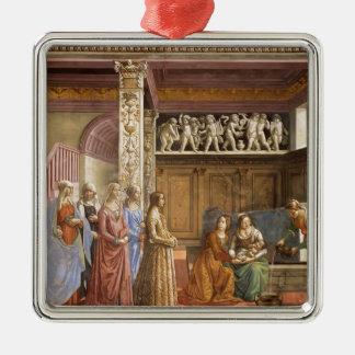 Domenico Ghirlandaio: El nacimiento de Maria Adorno Cuadrado Plateado