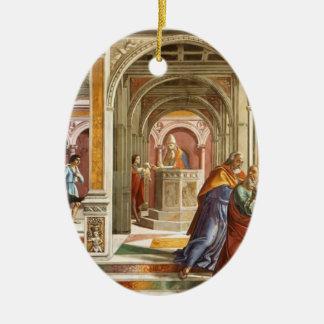 Domenico Ghirlandaio: Expulsión de Joaquín Adorno Ovalado De Cerámica