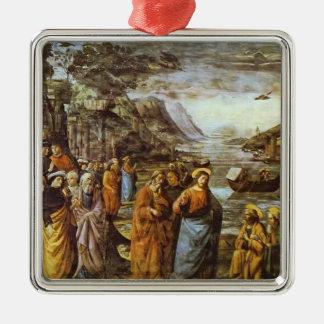 Domenico Ghirlandaio: La llamada de San Pedro Adorno Cuadrado Plateado