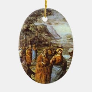 Domenico Ghirlandaio: La llamada de San Pedro Adorno Ovalado De Cerámica