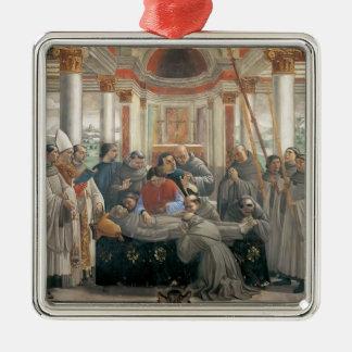 Domenico Ghirlandaio: La muerte de St Francis Adorno Cuadrado Plateado