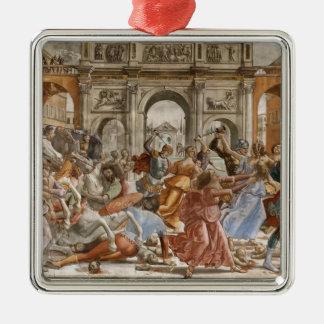 Domenico Ghirlandaio: Matanza de los Innocents Adorno Cuadrado Plateado