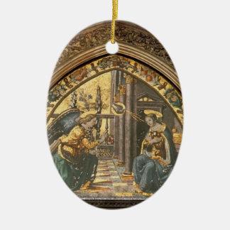 Domenico Ghirlandaio: Primer del anuncio Adorno Ovalado De Cerámica
