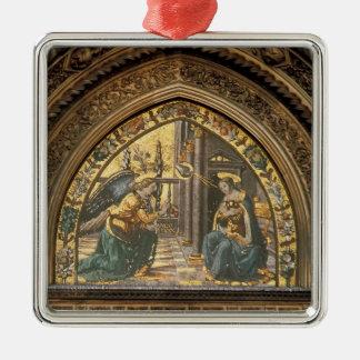 Domenico Ghirlandaio: Primer del anuncio Adorno Cuadrado Plateado