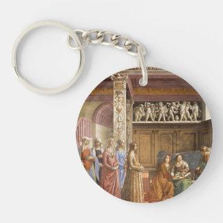Domenico Ghirlandaio: The Birth of Mary Single-Sided Round Acrylic Keychain