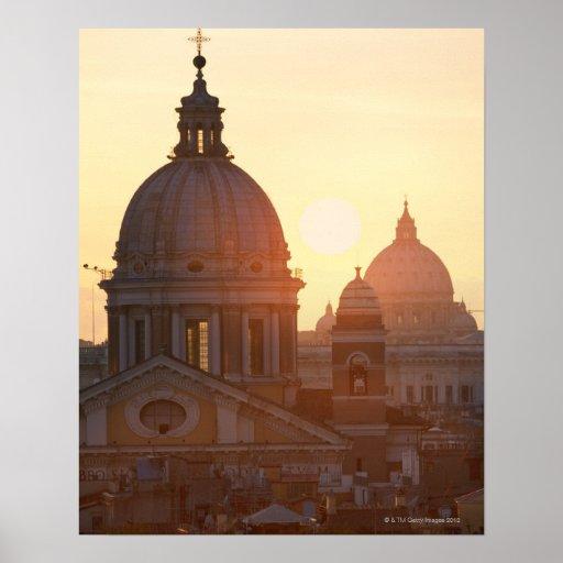 Domes of San Carlo al Corso Church and St. Poster