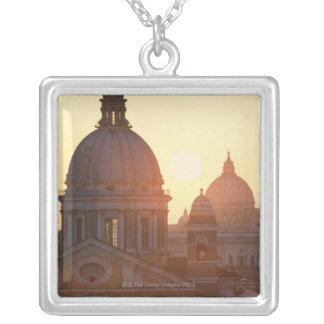 Domes of San Carlo al Corso Church and St. Square Pendant Necklace