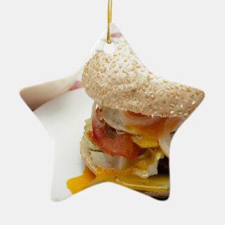 Domestic burger ceramic ornament