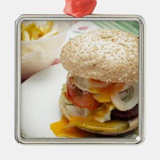 Domestic burger metal ornament