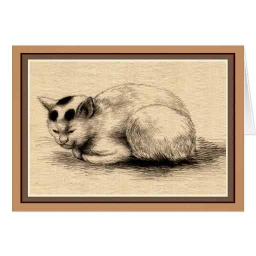 Domestic Cat Japanese Ink Drawing Card