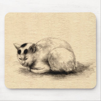 Domestic Cat Japanese Ink Drawing Mousepad