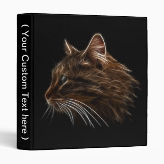 Domestic Cat Kitten Head Fractal Profile 3 Ring Binders