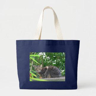 Domestic cat large tote bag