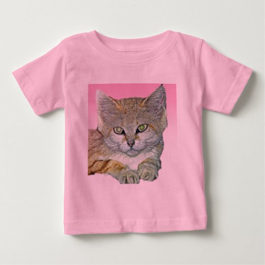 Domestic Cat, Pink Background Baby T-Shirt