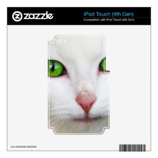 Domestic Cat with Green Eyes Feline Face White Fur Skin For iPod Touch 4G