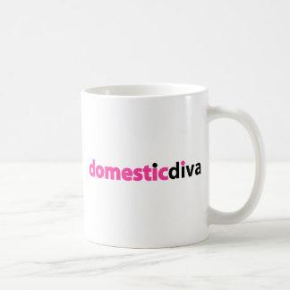 domestic diva (black) classic white coffee mug